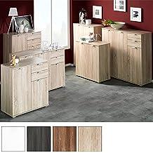 Mobiletto/credenza/armadietto moderno in legno, ampia capienza con vari scomparti e ripiani–rovere bianco, dark oak, Type 160