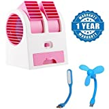 Renyke Primiume Quality Air Conditioner Cooling Fan Mini Dual Bladeless USB Cooler Fan And Mini Fan For Laptop/Desktop/Powerbank & USB Led Flash Is Absolutely Free(Color May Vary)