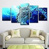 Peintures Sur Toile Art Mural Pour Le Salon Home Photos Décoratives 5 Pièces Blue...