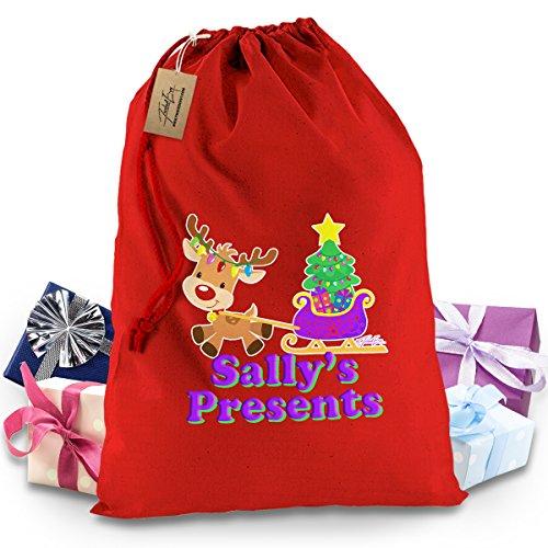 Personalizzabile Renna slitta Rosso Babbo Natale calza di Natale regalo borsa (Tradizioni Vigilia Di Natale)