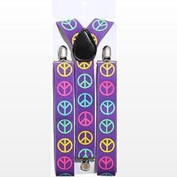 Tirantes hippie Peace cintura Soporte Pantalones de los años setenta Soporte de paz de caracteres Pantalón Forma de Y Protector Bucal Flower Power años 60Disfraz Accesorio Carnaval Disfraces accesorios