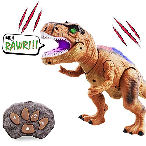 WISHTIME Remote Control Dinosaur ElectricToy Kids RC Animal Toys LED Light Up Dinosaur Walking and Roaring Realistic T-Rex Robot Toys For Toddlers Boys Girls