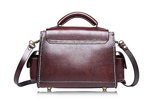 Otomoll _Mode Leder Handtasche Handgefertigten Damen Einzel Schulter Leder Gerben Von Leder 8602 chocolate
