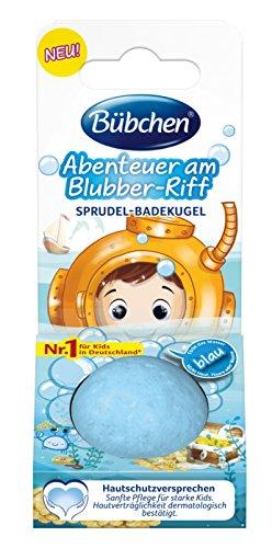 Bübchen  Badespaß Abenteuer am Blubber-Riff, Sprudel-Badekugel mit blauem Wasserfärbe-Effekt, für mehr Spaß im Bad, Menge: 1 Stk (50 g)