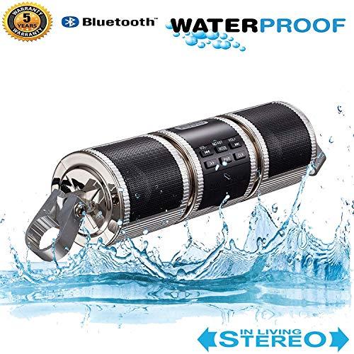 Motorrad Bluetooth MP3 Wasserdicht Motorrad Audio Support Lenker Doppelter HiFi-Player unterstützt USB/TF-Karte/AUX-Schnittstelle und MP3/WMA-Musikformat-Chopper Bobber Eingebautes FM-Radio,Silver Motorrad-audio