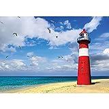 Vlies Fototapete PREMIUM PLUS Wand Foto Tapete Wand Bild Vliestapete - Meer Strand Leuchtturm Küste Wolken Möwen - no. 1468, Größe:368x254cm Vlies