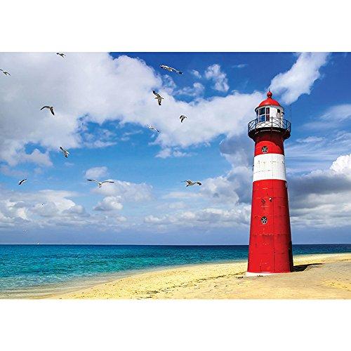 Vlies Fototapete PREMIUM PLUS Wand Foto Tapete Wand Bild Vliestapete - Meer Strand Leuchtturm Küste Wolken Möwen - no. 1468, Größe:368x254cm Vlies - Küsten-leuchttürme