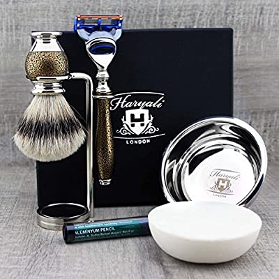 Silver Tip Brush & Gillette Fusion Razor with Stand, Bowl & Soap Kit.