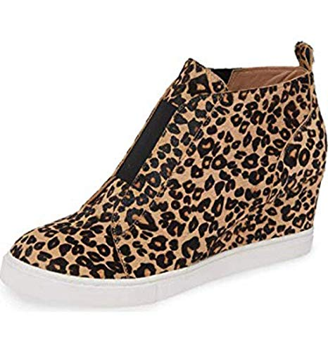 AMUSTER Damen Sommer Sandalen Espadrilles Wedge Mode Leopard Wedges Thick Bottom Flat Zipper Freizeitschuhe -