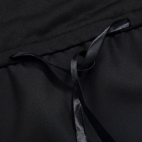 KoJooin Damen Plus Size V-Ausschnitt Gradient Spitze Bluse T Shirt Tops Longshirt Shirtkleid Strandabdeckung Mini Kleid Schwarz