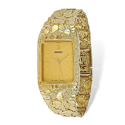 Yellow-gold 10k Champagne 27x47mm Dial Square Face Nugget Watch