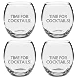 Argon Tableware Engraved Drinking Tumbler Glasses - Time For Cocktails - 405ml - Pack of 4