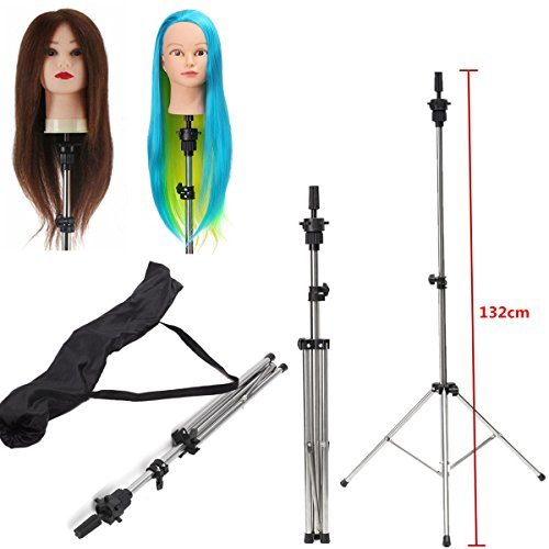 Adjustable Tripod LuckyFine Mannequin Head Stand Clamp Hairdressing Wig Practice Head Model Holder