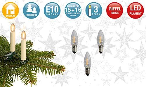 Hellum 914306 LED Filament Ersatz-Riffelkerze für Lichterketten mit 15+16 Brennstellen/Innen- und Außenbeleuchtung/warmweiß/klar / E10 Sockel / 16 V / 0,5 W / 3 Stück