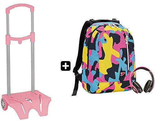 Zaino seven - the double camouflage rosa + easy trolley - cuffie stereo con grafica abbinata incluse! 2 zaini in 1 reversibile