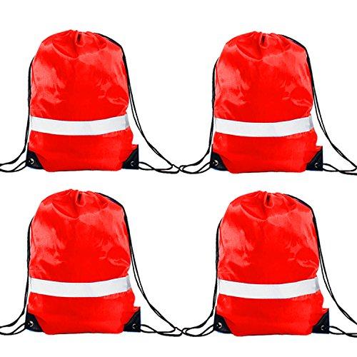 GoodtoU Turnbeutel Kordelzugbeutel - 4 Stück Höhe Sichtbarkeit Reflektierend Drawstring Bag Gymsack Sportbeutel Rucksäcke für Sport Schule Reisen Rot (Hohe Sichtbarkeit-fall)