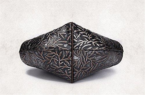 Pelle XinMaoYuan Lady Borsa a mano strofinare retrò Borsa a Tracolla Casual posta in rilievo Pack,lavato argento Lavate argento