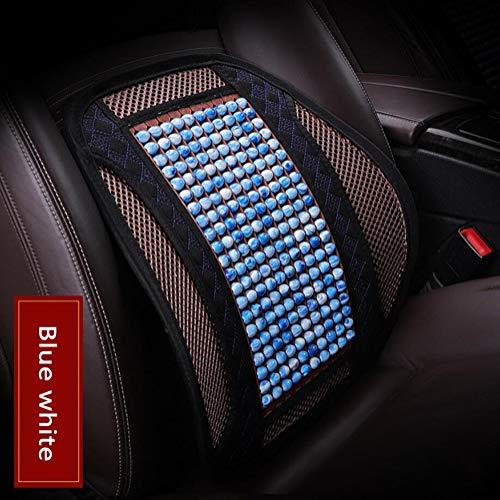 FENG Bequem Sommer Atmungsaktiv Harz Jade Perlen Auto Rücken Kissen, für PKW Macht Autofahren auf Langen Reisen erträglicher und weniger schmerzhaft (1 pcs),Bluewhite -