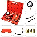 Todeco - Kit Di Tester Di Compressione, Set Di Strumenti Per Tester Di Compressione Da 9 Pezzi - Materiale: acciaio C45 - Dimensione di caso: 30 x 19,5 x 6 cm - 6 Parti, con custodia rossa