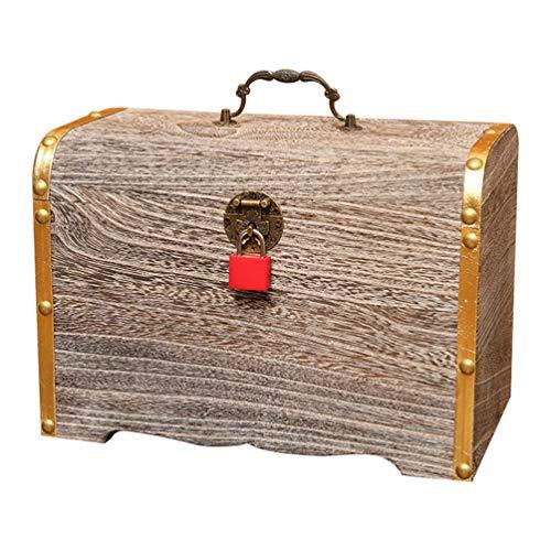 TOPBATHY Schatztruhe Sparschwein Schmuckschatulle aus Holz Antike Andenken Fall Vintage Metall Sperre Retro Holz Veranstalter Kinder -