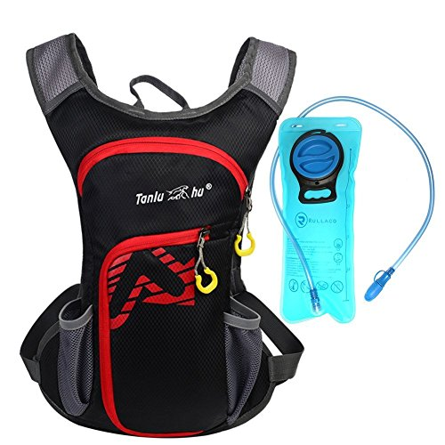 Rullaco 12L Hydration Pack with 2L Water Bladder – Waterproof Camping Hiking Running Biking Trekking Climbing Cyclng Hydration Backpack & Rucksack – Sports Outdoor Water Reservoir Bag For Women Men (Black)