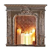 Mit auffälligen Verzierungen und Antik-Finish. Im Inneren: Ein Spiegel mit wertigem Antik-Finish, der Kerzenlicht wundervoll widerspiegelt. Kaminkonsole mit auffälligen Verzierungen und Antik-Finish. Der Rahmen ist aus echtem Holz. Die Ornamente sind...