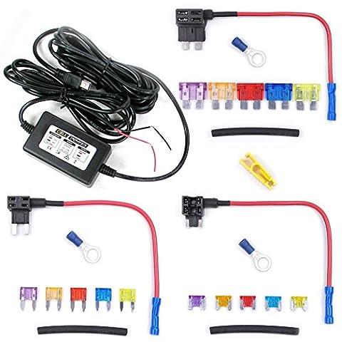 Kit complet Hardwiring Cell Power 12V vers 5V miniUSB adaptateur d'alimentation avec BDP (batterie décharge prévention) coupure basse tension pour Mini-USB assuré Dashcam