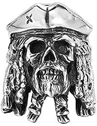EVEYYJZ Piratas del Caribe Anillo de Acero de Titanio con Cabeza de Diamante, Personalidad de los Hombres, Anillo de Calavera Vintage HF325, Color de Imagen, n. ° 7