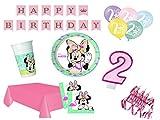 XXL Party Deko Set 2.Geburtstag Minnie Mouse Flamingo Kindergeburtstag für 16 Personen 61 teilig rosa türkis Mädchen
