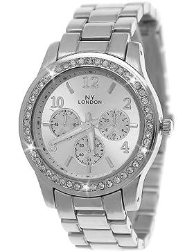 Designer Strass Damenuhr,Moderne Damen Armband Uhr,Chronograph Optik,Silber,D143