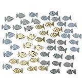 Deko Fische natur blau Streudeko 3,5 cm 54 Stück Tischdeko