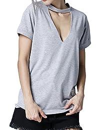 a267c622b4458e Estivo Donne Maglietta Moda Collo V Profondo Manica Corta Tops Bluse Shirts  Casual Tinta Unita T