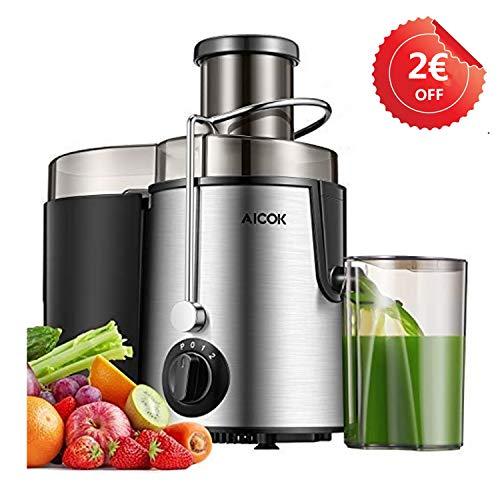 Aicok Licuadoras Para Verduras y Frutas Acero Inoxidable, 3 Velocidades Licuadora Prensado Frio Extractor...