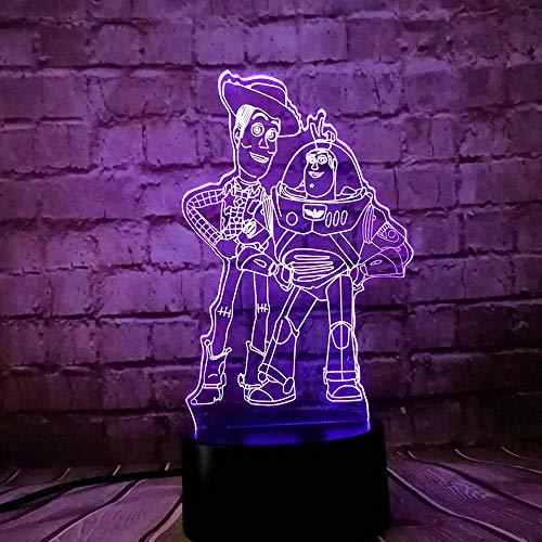GJXYED Spielzeug Bad Licht Holz 3D Led Lampe Nicole Mouse Daisy Tinker Bell 16 Farbwechsel Nachtlicht Raumdekoration Geschenk, 3D Illusion Nachtlicht Kinderzimmer Nachttischlampe Led Tischlampe Urlau -