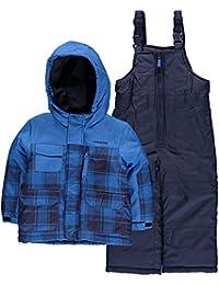 London Fog Little Boys' Plaid Snowsuit (2T, Blue)