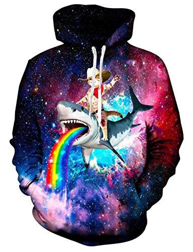 Rave on Friday Katze Hoodie Cowboy Katze 3D Print Pullover Langarmshirts Leichte Sweatshirts Mit Taschen M -