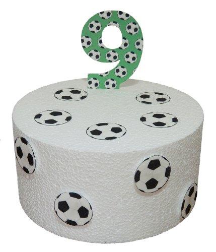 vorgeschnittene Kuchendekoration, Fußbälle und Nummer 9, aus essbarem Reispapier, für Kuchen, für Geburtstag / Partys