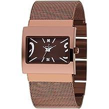 Reloj Mujer marca Nowley, en acero color chocolate, correa de malla en coloe chocolate