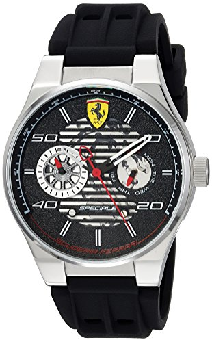 Ferrari Reloj de hombre cuarzo 44mm correa de goma caja de acero 830429