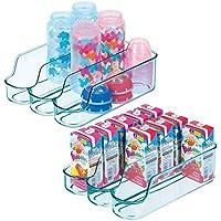 mDesign Juego de 2 cajas de plástico para guardar comida para bebés – Organizador de biberones pequeño con 3 compartimentos – Caja organizadora abierta para alimentos y cosmética – azul mar