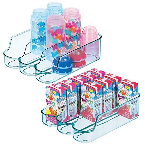 mDesign 2er-Set geteilter Aufbewahrungsbehälter für Babynahrung - kleine Flaschenaufbewahrung mit 3 Fächern - offener Vorratsbehälter für Lebensmittel, Pflegeprodukte und Spielzeug - meerblau