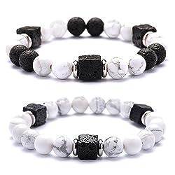 Gkmamrg Ein Paar Partner Armbänder Lava-Natursteinen Energiearmband Buddha Beads Armreif Yoga-Armband für Damen und Herren (Damen Herren Armbänder)
