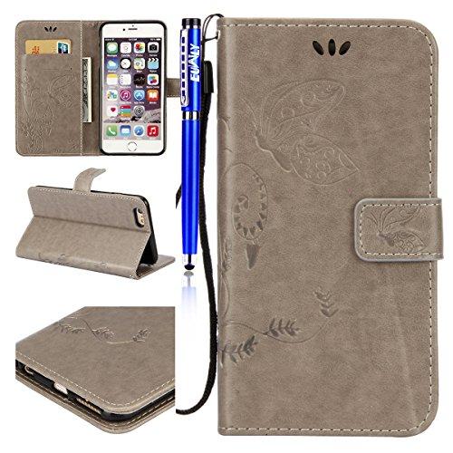 EUWLY Custodia Cover per iPhone 6 Plus/iPhone 6s Plus (5.5), EUWLY Luxury Puro Colore Cover Case in PU Leather per [iPhone 6 Plus/iPhone 6s Plus (5.5)] Modello Goffratura Fiore Farfalla Design Bumpe Butterfly,Grigio