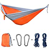 #7: X-CAT NACATIN Folable Camping Hammock with 210T Parachute Fabric, 118L X 78W inch Double Hammocks,1500lbs/300KG Capacity (Grey and Orange)