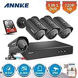 [1280*720P HD] ANNKE Kit de 4 Cámaras de Vigilancia Seguridad (Onvif H.264 CCTV DVR P2P 4CH AHD 720P y 4 Camaras 720P 1MP IP66 Impermeable, IR-Cut, Visión Nocturna Hasta 20M, Exterior y Interior, HDMI, 36 LEDs Seguridad Kit) - 1TB Disco Duro