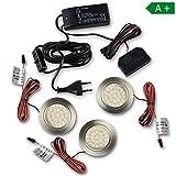 LED Schrankbeleuchtung rund warmweiß – im 2-6 Set – moderne Leuchte von hoher Qualität – Küchenbeleuchtung Schrankbeleuchtung Lichter | Edelstahl