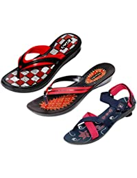 5fd6d6076 Indistar Women 1 Flip Flop with 1 Slipper and 1 Sandal (Combo Pack of-