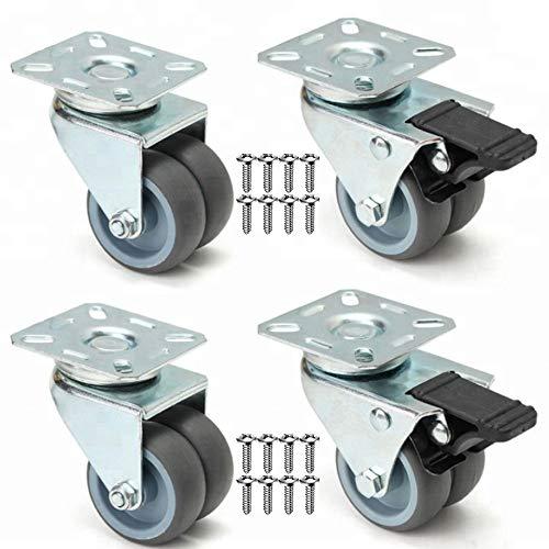 GBL - Set di 4 Ruote Per Carrello + 16 Vite, 50mm 400kg Rotelle per Mobili, Ruote Girevoli Gomma (2 Rotelle con freno e 2 Rotelle senza freno)