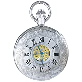 OGLE Waterproof Large Digital Chain Silver Noctilucence Silver Roman Fob Self Winding Automatic Skeleton Mechanical Pocket Watch