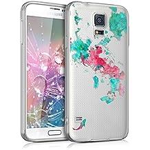 kwmobile Funda transparente para > Samsung Galaxy S5 / S5 Neo / S5 LTE+ / S5 Duos < con diseño IMD y marco de silicona TPU con parte trasera de plástico - funda blanda para móvil carcasa protectora bumper Diseño acuarela carpa